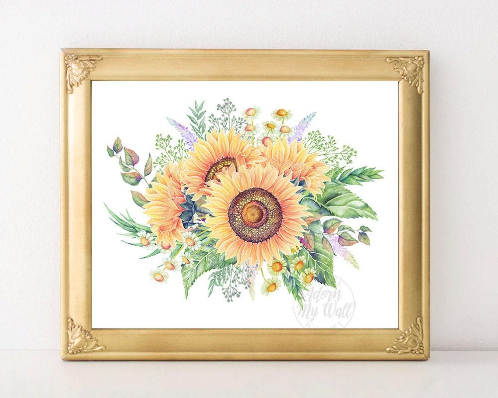 sunflowers print printable art sunflower decor wall art. Black Bedroom Furniture Sets. Home Design Ideas