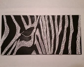 Zebra String Art Wall Decor Black and White Home Decor