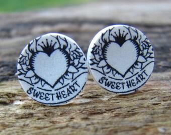 Sweetheart Tattoo Stud Earrings