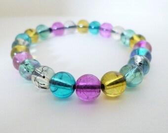 Multicoloured Glass Beaded Stretch Bracelet, Pink Bracelet, Blue Bracelet, Yellow Bracelet, Purple Bracelet