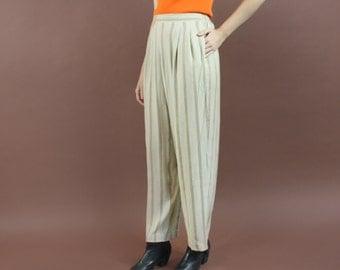 vintage 90s minimal beige/TAN stripe casual pleated lounge pants - elastic waist