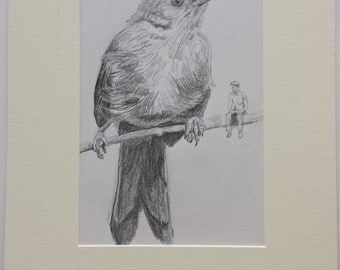 Original pencil drawing of Dartford Warbler with man