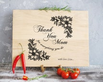 Mother's Day Cutting Board Bridal Shower Gift for Mom Lasered Engraved Mom Birthday Mom Gift Mother is the World Thank You Mom Cutting Board