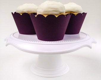 Set of 12 – Plum Purple Cupcake Wrappers – Standard Sized - Ready To Ship