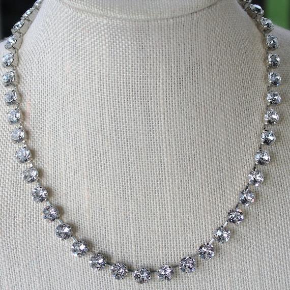 Swarovski Crystal Choker- 8mm Swarovski Crystals, Wedding Necklace