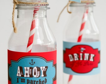 Pirate Party Drink Labels , Water Bottle Labels , Pirate Party , Red and Blue