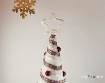 White Topiary Tree ~ White and Purple ~ Handmade tree ~ Topiary ~ Home decor ~ Holiday decor ~ Decoration ~ Gift ideas ~ Original gifts