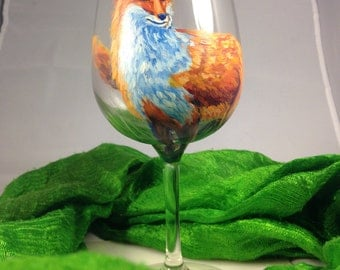 Hand Painted Fox Wineglass with fine brush detail, 7.5 by 3.5 inches