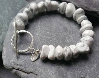 White Beaded bracelet, Toggle Clasp Bracelet,  Sterling Silver Bracelet ,Pebble Bracelet, Boho Bracelet,Magnesite  Bracelet Holiday Bracelet
