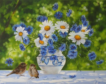 Daisies Flower Painting, Floral art Painting, Original Oil Painting, Ready for Hanging Original Floral Canvas Art, Green White Blue Wall Art