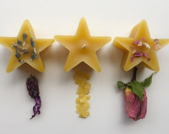 Beeswax Star Candles pack of 3