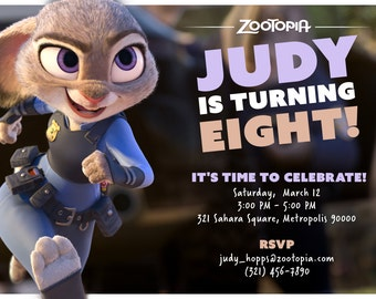 Zootopia Judy Hopps Inspired Birthday Invitation - Personalized Digital File by Hulles