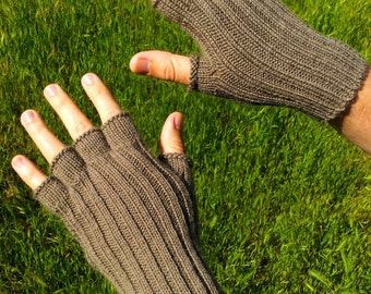 Engagement gift for him best friend gift for men light brown gloves knit mens gloves alpaca wool gloves half finger gloves hand knit gloves