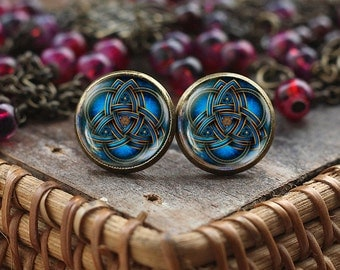 Blue triquetra stud earrings, Triquetra earrings, Triquetra jewelry, Celtic triangle Celtic knot earrings, Celtic earrings, Trinity Symbol
