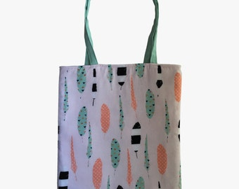 Black, White, Mint, and Blush Feathers Reversible Tote Bag