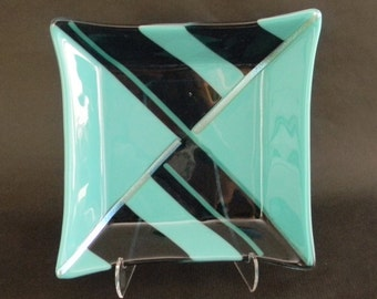 Angles  - fused glass square bowl