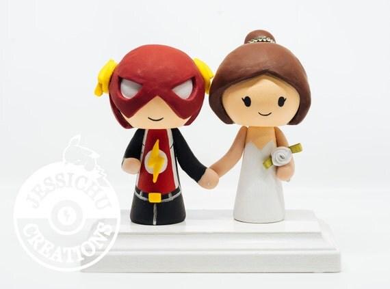 Flash Groom and Brunette Bride Wedding Cake Topper & Custom