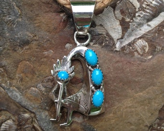 Sterling Silver Turquoise Pendant – Native American – Turquoise Pendant – Kokopelli Pendant – Native American Jewelry – WhistlingGypsyVTG
