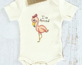 Organic Baby Clothes, Certified Organic Cotton Bodysuit, Teething Ring, I've Arrived, Flamingo, Baby Girl Set