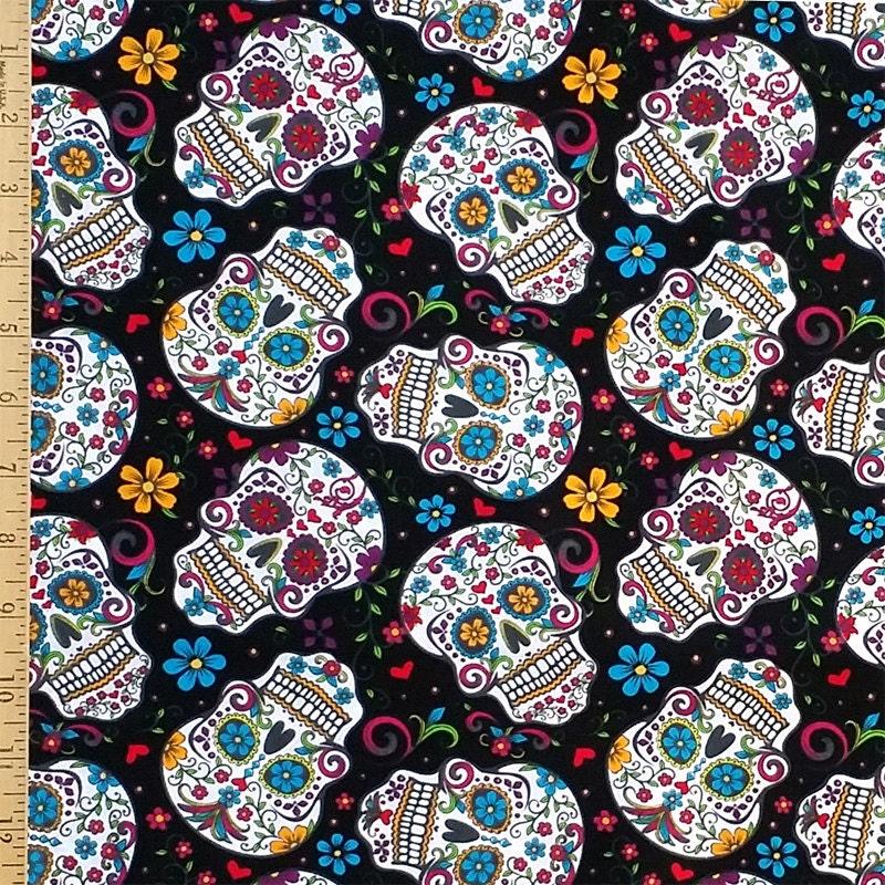 Sugar Skull Fabric The Day Of The Dead Fabric Dia De Los