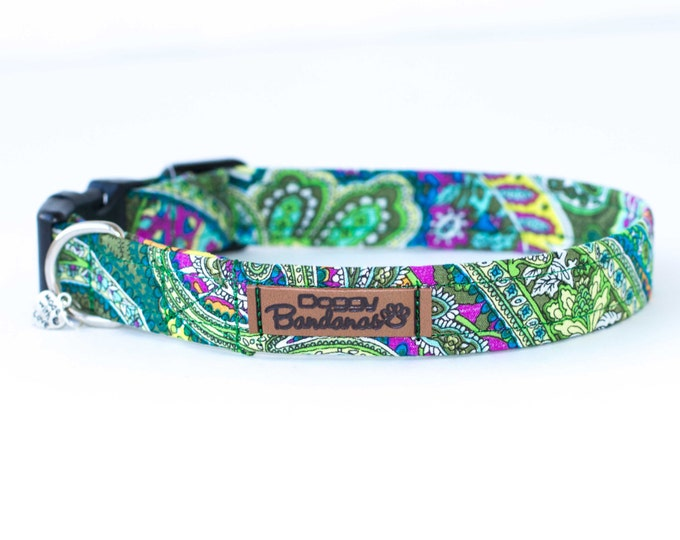 Bright Dog Collar Paisley Pretty Dog Collar Female Cute Dog Collar Pattern Flowered Dog Collar Vera Bradley Dog Collar Dog Girl Collar Puppy
