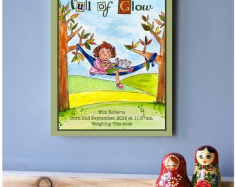 A special gift for a special little girl/Original Acrylic Painting/Bespoke kids wall art/Handcrafted art block/Nursery birth stats pictures