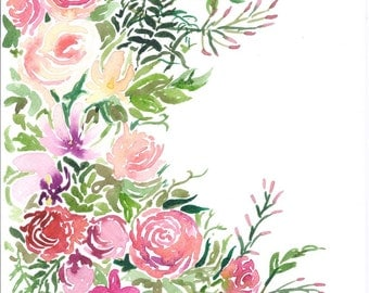 A4 floral watercolour original art print REQUEST PERSONALISED BOUQUET