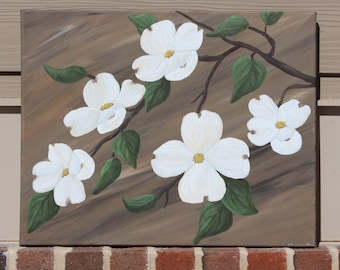 Dogwood Blossoms on Brown : Original Acrylic Painting on Stretched Canvas, 16x20 inches