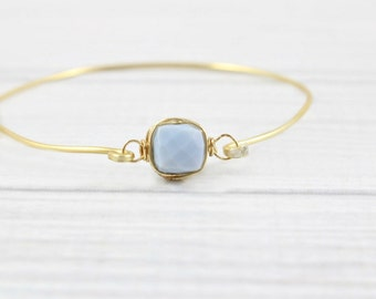 Opal Bracelet, Minimal Bracelet, Wire Wrapped, Thin Bracelet, Stone Bracelet, Gemstone bracelet, October Birthstone, Gifts for Her, Stacking