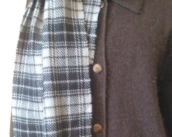 Vintage Cashmere Scarf, Made in Scotland, 100% Cashmere, Plaid Scarf, Grey and Black Scarf