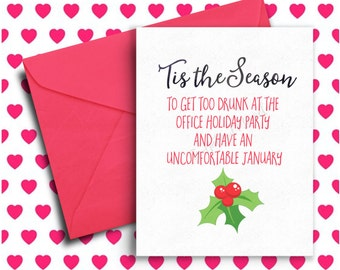 Funny Holiday Card, Funny Christmas Card, Office Humor, Co-Worker Christmas Gift, Merry Christmas, Happy Holidays, Xmas, Funny Greeting Card