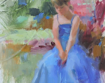 Original Oil Painting Textured Frankie Johnson Child Daily Painter Figurative Small Masterpiece Dancer Blue Dress Impressionism