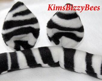 Zebra Costume, Zebra Ears and Tail, Zebra Ears, Zebra Tail, Tutu Accessory, Halloween Costume, Dress Up, Photos, Ears and Tail