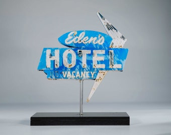 Eden's Motel neon sign photo / vintage motel sign / Las Vegas art / mid century modern / retro decor / old motel sign / route 66 art /