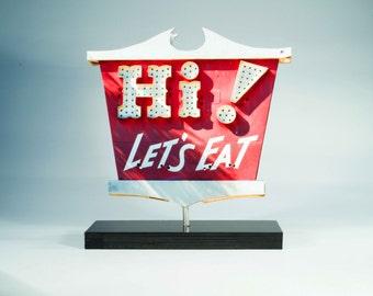 hi let's eat vintage neon sign / photo cutout / restuarant art / kitchen art/ retro neon sign / neon sign photo / mid century neon sign