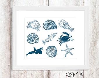 Beach wall art - beach nursery art - seashell wall art - fish wall decor - ocean wall print - beach home decor - crab wall print