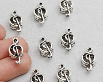 15Pcs Antique Silver Music Note Beads, Silver Treble Clef Beads, 17x8mm(Approx), sku/ÇTN58