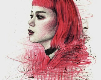 The girl with the pink hair - Illustration printing