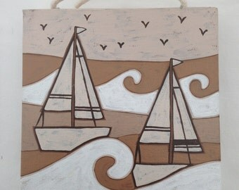 Hand painted beige boat canvas picture