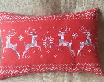 Christmas Cushion with Reindeers, Xmas Cushion, Nordic Xmas Decor,  Red Christmas Pillow, Christmas Decoration, Festive Holiday Decor,