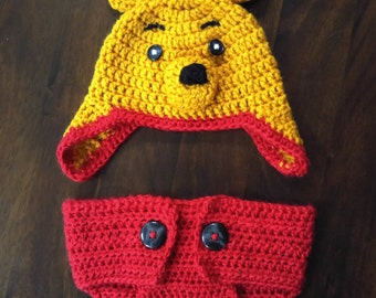 Winnie the Pooh Hat and Diaper Cover, Crochet Newborn Props, Infant Winnie-the-Pooh Costume, Custom Made