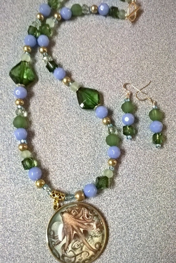 coastal blue and green beaded necklace with octopus pendant