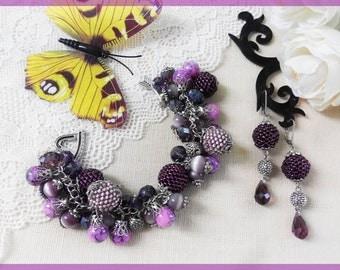 Beaded bracelet Beaded earrings Beaded set Purple bracelet Purple jewelry set Handmade set Christmas gift Purple bracelet Gift for woman