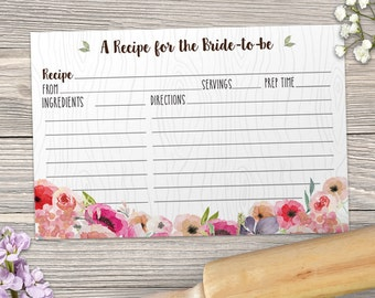 "Printable Rustic Faux Bois Watercolor Wildflowers Recipe Card, Bridal Wedding Shower, 6""x4"", JPG Instant Download"