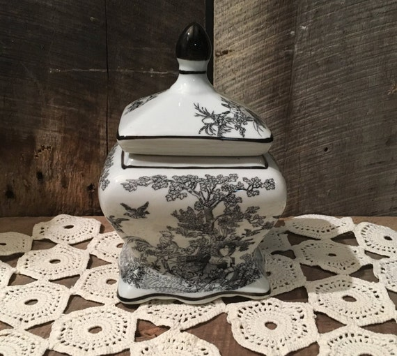Vintage Toile Jar Farm Animal Jar Black And White Jar