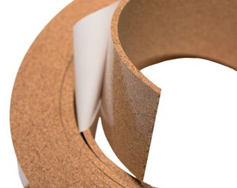 "1/8"" Thick Natural Fine Grain Cork Tape - 20 Feet Long, 1"" to 3"" Widths Available, Adhesive Backed Cork Strips"
