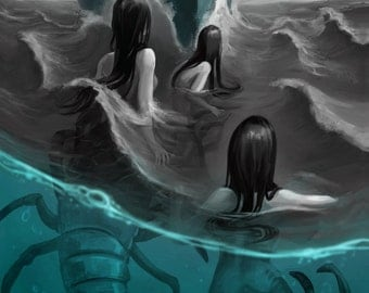 Creepy Mermaids Lobster Sirens Ocean Sea Art Illustration Painting - 11x17 Print Mermaid Water Boat Storm Waves Sailor Women