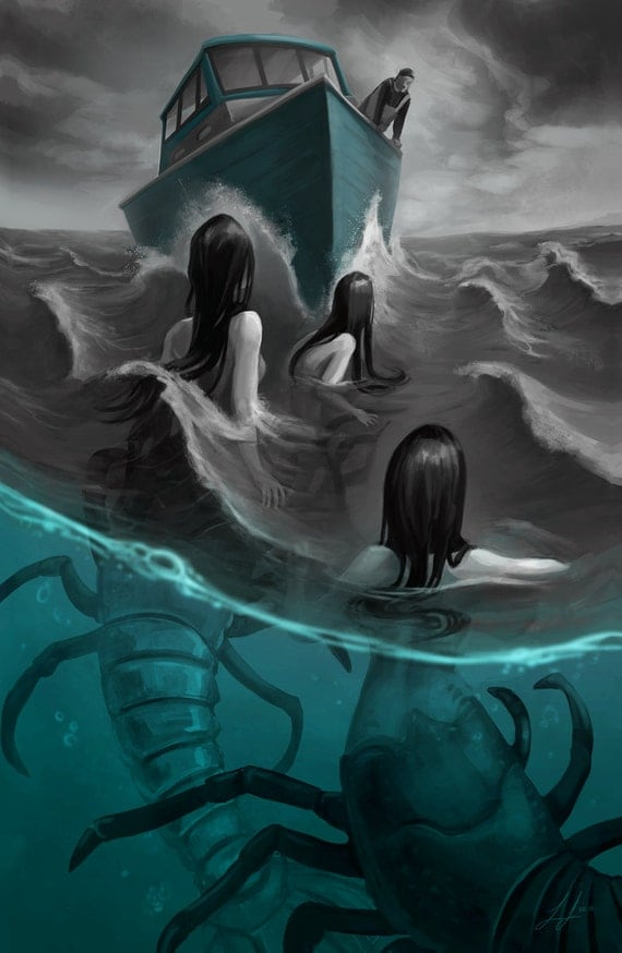 Items similar to Creepy Mermaids Lobster Sirens Ocean Sea Art Illustration Painting - 11x17 ...