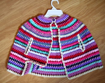 crochet baby girl clothes, girl cardigan, baby poncho, knitted baby clothes, newborn outfit, knit baby outfit, girl poncho, baby girl gift