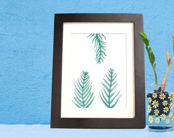 Leafy greens, green branches, ferns watercolor- instant digital download